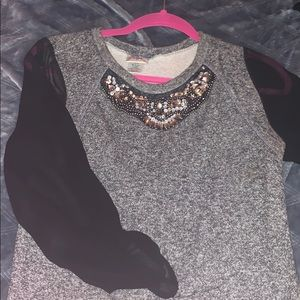 Sheer long sleeve with bling